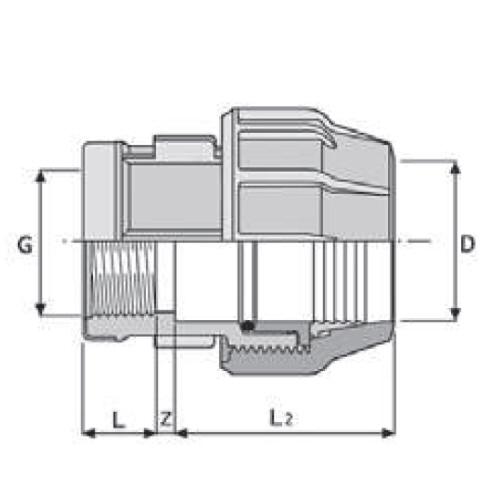 Ordentlich PP-Klemmverbinder für PE Rohre, Anschlussverschraubung IG   Kwerk  TW25
